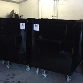 black garbage bins
